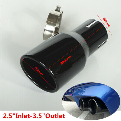 "1Pcs 2.5/"" Inlet 3.5/"" Outlet Bevel Full Black Car Exhaust Tip Tail Pipe Muffler"