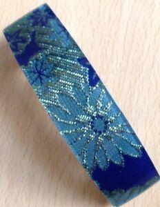 Prix Bas Avec Un Bleu Fleur Tissu Imprimé Barrette à Cheveux Performance Fiable