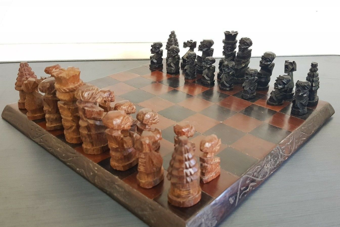 Rare Vintage African African African Hand Carved Chess Set (barn find) f926e7
