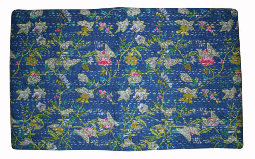 Gudri Kantha Quilt Indian Floral Bedspread Bed Cover Throw Rally Queen Blue New