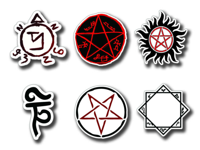 Supernatural Protection Symbols Set Of 6 Large Stickers Ebay