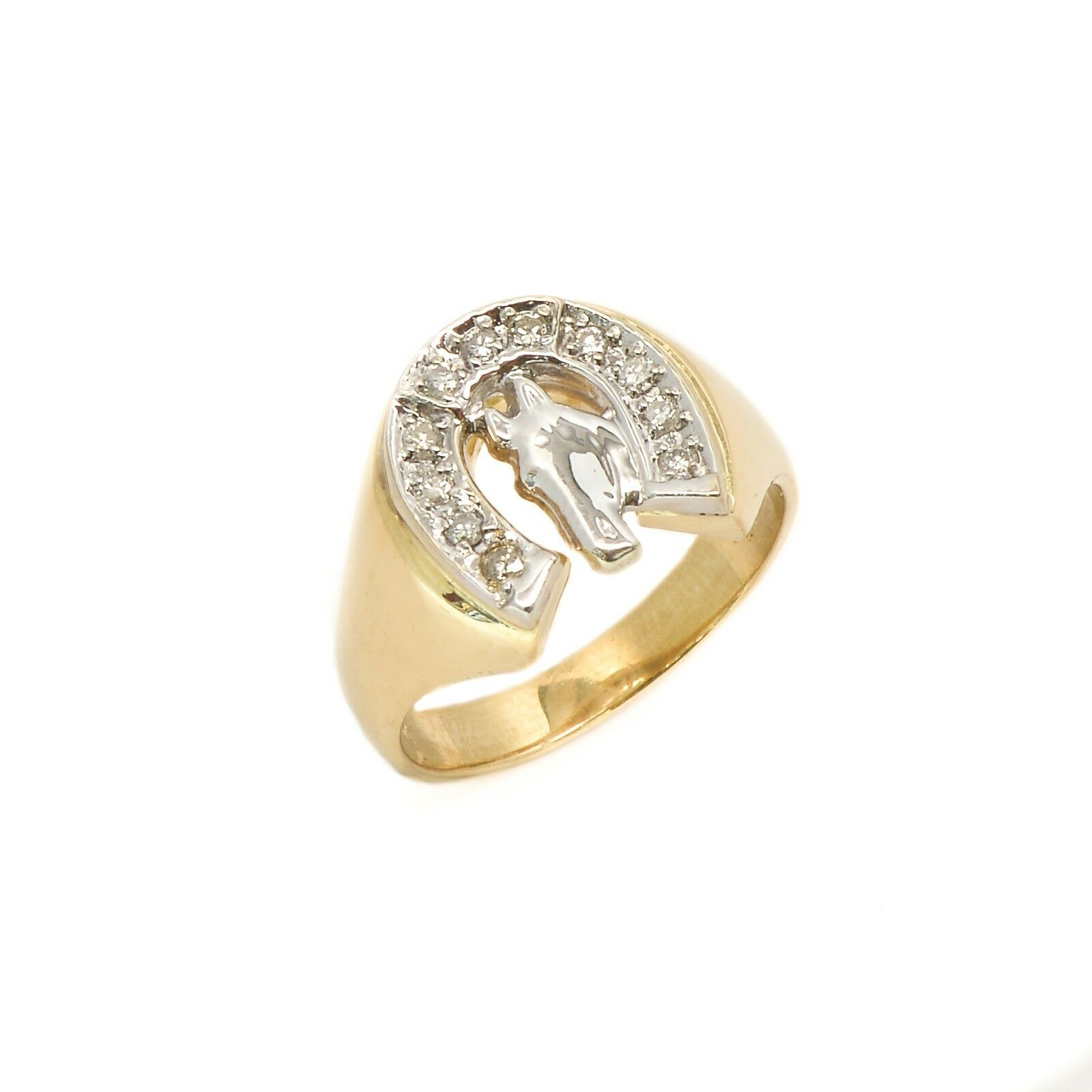77f01e068b1fb 0.30 Yellow 14KT Style shoes Horse Classic Ring CT gold 8.5 Size ...
