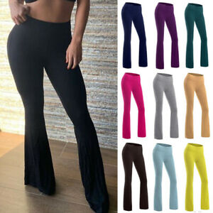 Women-Yoga-Pant-Bootleg-Flared-Workout-Wide-Leg-Loose-Bootcut-Casual-Trouser-PD