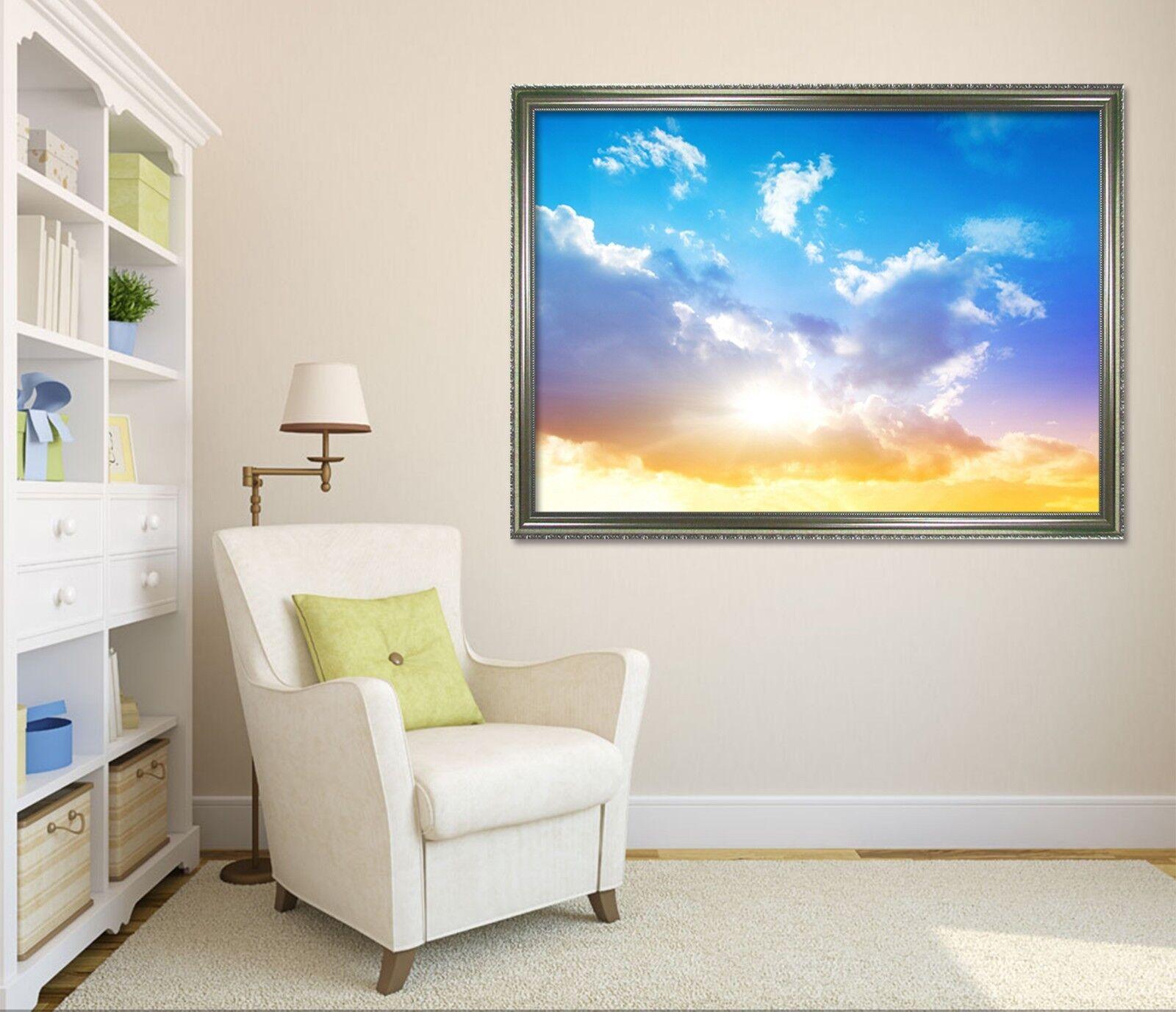 Cartel enmarcado 3D sol Nube 5 Decoración del Hogar Pintura de Impresión Arte AJ Wallpaper