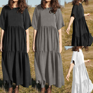 Summer-Womens-Oversized-Swing-Long-Shirt-Dress-Short-Sleeve-Frill-Holiday-Kaftan