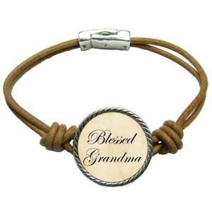 Blessed-Grandma-Brown-Leather-Cord-Bracelet-Jewelry-Mother-039-s-Day-Gift