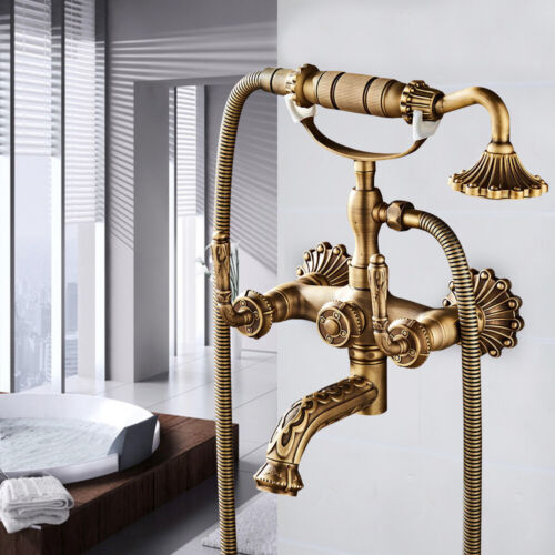 Vintage Gold Bath Tub Faucets Hand Shower Wall Mount Dual Handles Mixer Taps NEW