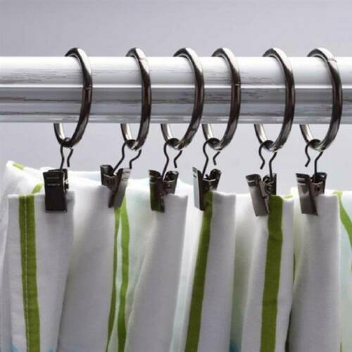 Details about  /10pcs Home Curtain Rod Drapery Hook Window Shower Rings Metal Drying Clip Clamps