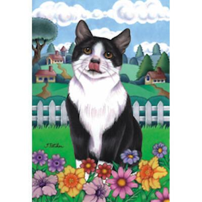 Tuxedo Cat Spring Decorative Flag, Tuxedo Cat Garden Flags