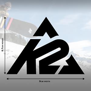 9cm x 6.7cm 2 x K2 Snowboard Logo Decal Stickers in Black Gloss
