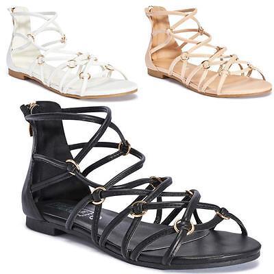 Señoras Sandalias Gladiador Nuevo Para Mujer Plana Tiras Elegante Verano Playa Zapatos Talla