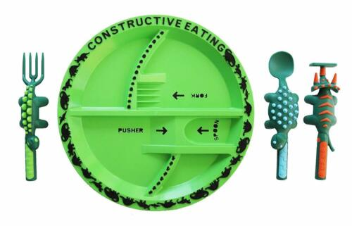 Constructive Eating Dinosaur Plate with 3 piece Dinosaur Utensil Set NEW