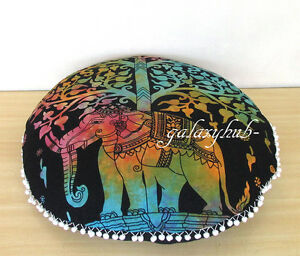 New-Tree-Elephant-28-034-Indian-Round-Floor-Pillow-Cover-Ottoman-Pouf-Cover-Throw