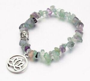 Fluorite Bracelet Crystal Gemstone Love Reiki Healing Chakra Charm Buddha Lotus
