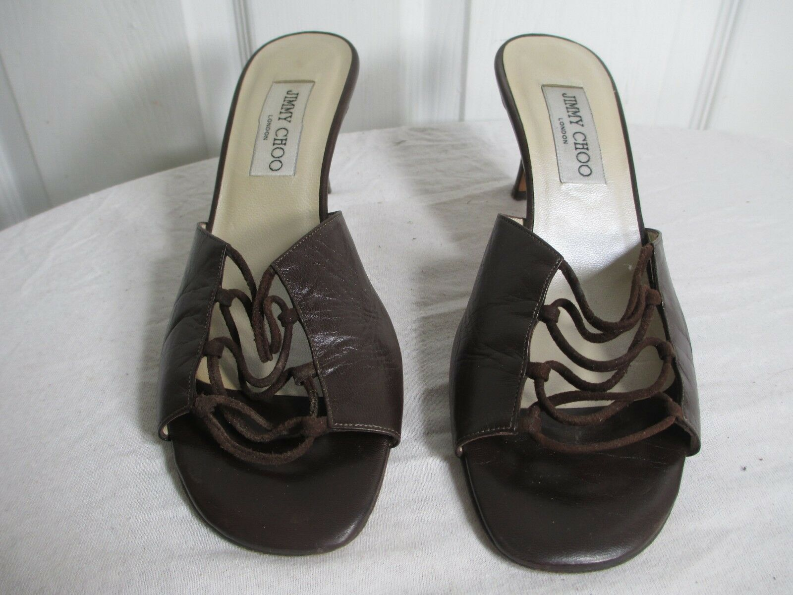 JIMMY CHOO HEEL SLIDES BROWN LEATHER OPEN TOE SHOES SIZE 39½ US 9 MADE IN ITALY