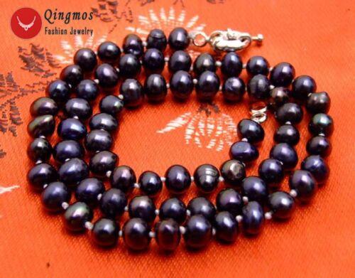 """5-6 Mm Rond Noir naturelle d/'eau douce collier de perles pour femmes les colliers 17/"""" n6205"""