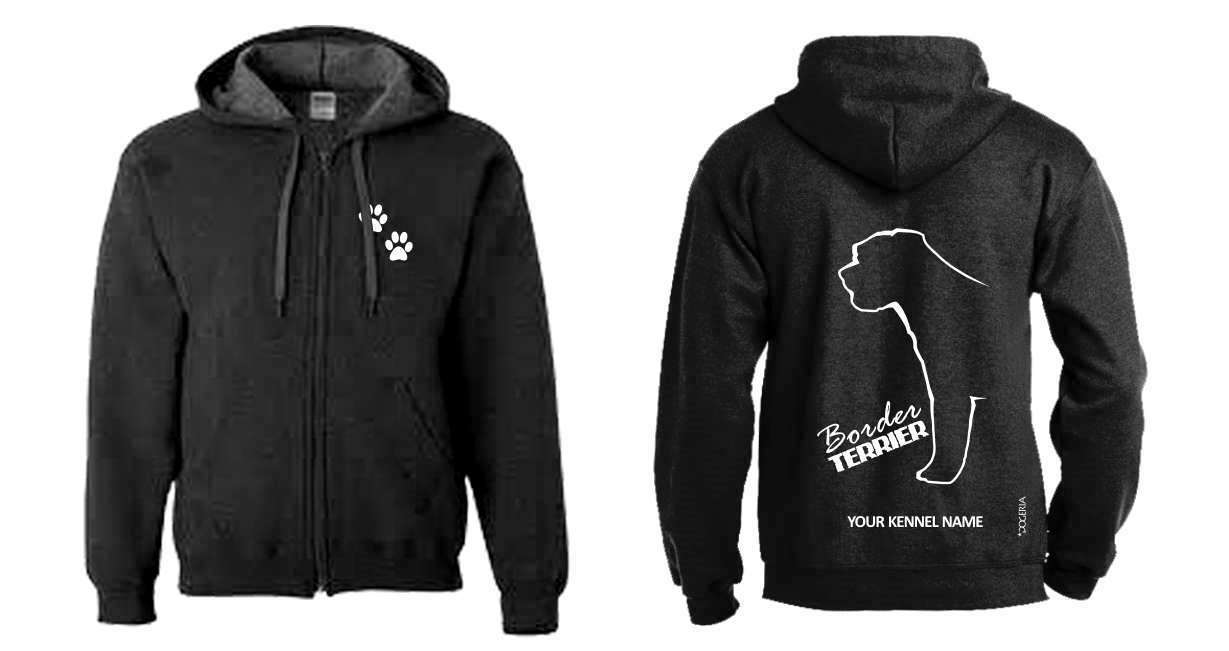 Border Terrier Full Zipped Dog Breed Hoodie, Exclusive Dogeria Design,