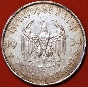 1 1934 A 5 Mark German WW2 90/% SILVER  Garrisonkirche W//D 3rd Reich Coin