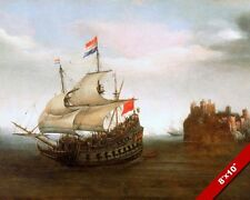 DUTCH SHIP SAILING FROM SEASIDE CASTLE 1500'S ERA PAINTING ART REAL CANVAS PRINT