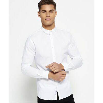 New Mens Superdry Tailored Slim Fit Shirt Optic White