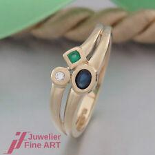 Schnäppchen: RING mit Diamant/Saphir(Safir)/Smaragd- 14K/585 Gelbgold