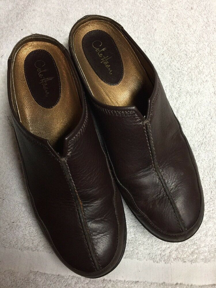 Cole Haan Women's Brown Leather Slip On Mules Air Casual shoes Size Sz 6 B