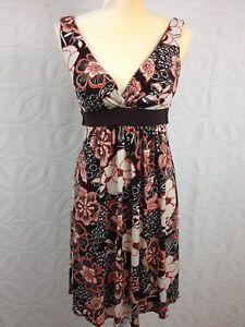 Women-039-s-SPEECHLESS-Brown-Orange-Floral-Empire-Sleeveless-Shift-Dress-Size-Small