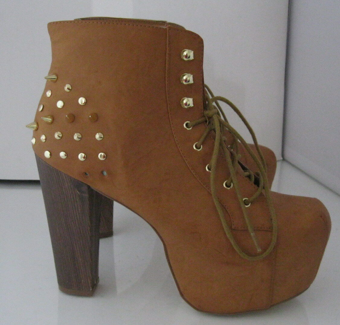 """new Tan Gold Spikes Lace Up 5.5"""" Block High Heel Round Toe Ankle Boot Size 10"""