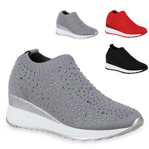 Details zu Damen Sneaker Wedges Slip On Turnschuhe Keilabsatz Schuhe 825589 Trendy Neu