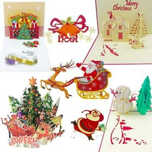 Details About 7 Pack 3d Pop Up Christmas Cards Greeting Handmade Assorted Design W Envelopes