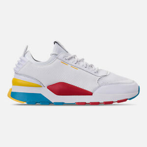 mens puma rs0 play white /high risk red casual shoes men