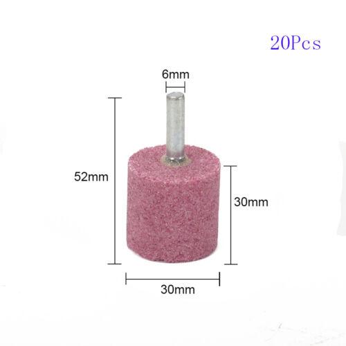 20Pcs 1//4/'/' Shank PA Chrome Corundum Grinding Wheel Head Drill 16 20 25 30mm Dia