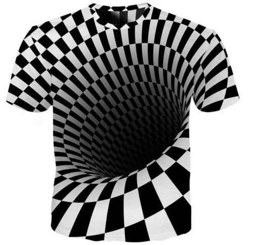 Hot Women Mens Casual T-Shirt 3D Print Black and white vertigo Short Sleeve Tops