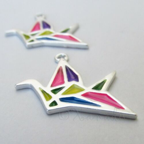 Origami Crane 30mm Silver Plated Multicolor Enamel Pendant Charms 2 Or 5PCs 1
