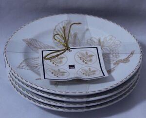 222-Fifth-Golden-Leaves-Porcelain-Appetizer-Plates-Set-of-Four-New