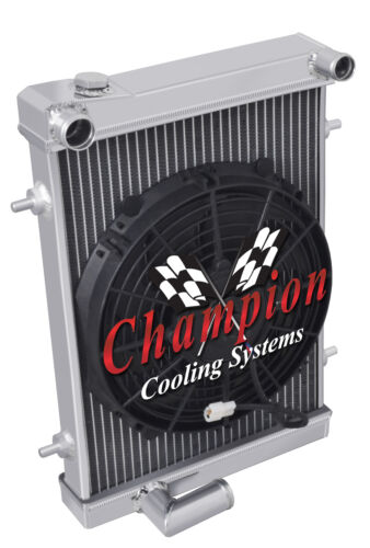 "2 Row Kool Champion Radiator W// 10/"" Fan for 1979 1980 Triumph Spitfire"