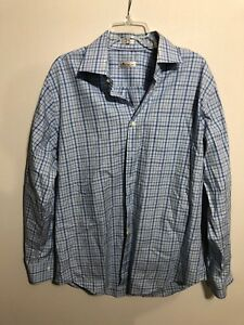 Peter-Millar-Mens-Plaid-Check-Button-Down-Dress-Shirt-Blue-Purple-Size-Large