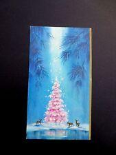Vintage Unused Xmas Greeting Card Stunning Deer See Glittered Pink HolidayTree
