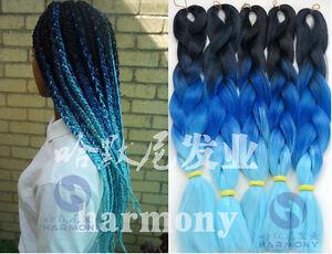 Black-Blue-Ombre-Silk-Jumbo-Braiding-Synthetic-Hair-Extension-Twist-Braids