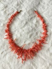 Antique Vintage Natural Red Salmon Coral Branch Necklace