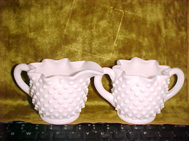 Fenton Hobnail White Milk Glass Sugar and Creamer with Star Shaped Top  7/22