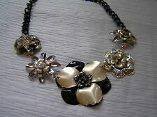 Chunky Black Silver & Goldtone Lightweight Metal Layered Flower Link Necklace -