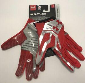 Under-Armour-Mens-Size-Large-UA-Spotlight-Football-Gloves-Red-Chrome-60