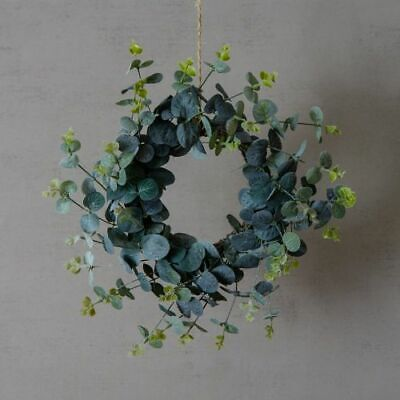 Small 26cm Faux Eucalyptus Xmas Door Wreath Artificial Fake Realistic Greenery Ebay