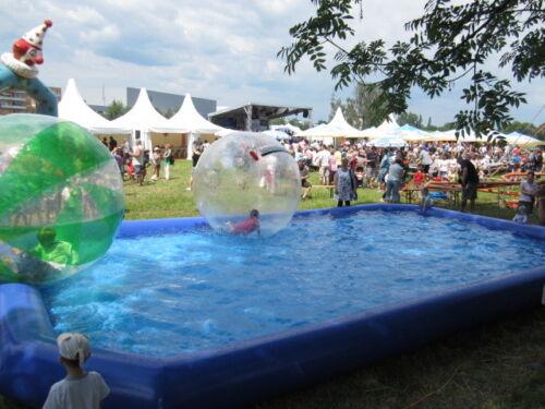 Pool aufblasbar 6x6x0,5m, ideal für Wasserbälle, Event Modul, Wasserspaß