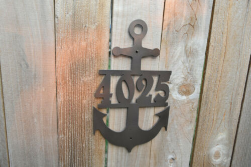 Address Sign Anchor nautical 1 2 3 or 4 number Black Powder Coated