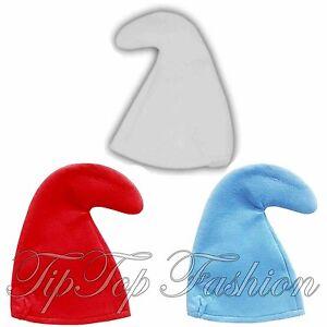 Gnome-Schtroumpf-Chapeau-Deguisement-gnome-Blanc-Bleu-Rouge-Nain-une-taille