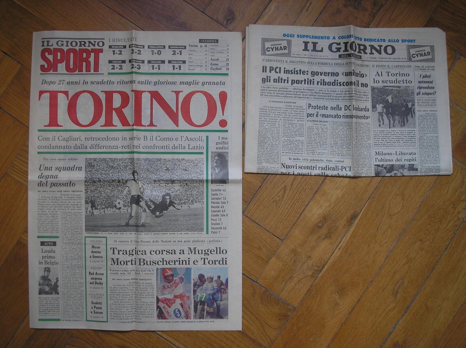 Toro EL TURÍN Y' MUESTRA DE ITALIA SCUDETTO EL DÍA + GIORNO SPORT 17 5 1976