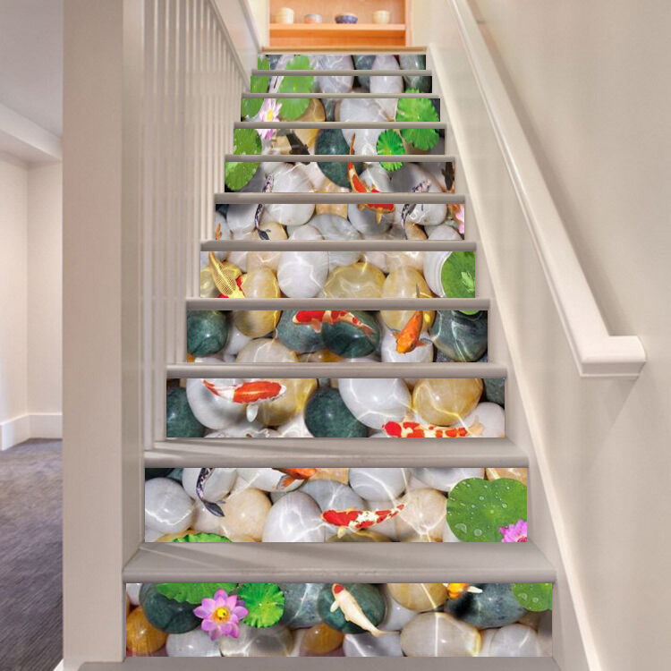 3D Gold Fisch 342 Stair Risers Dekoration Fototapete Vinyl Aufkleber Tapete DE