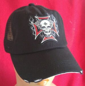10039dd67 Details about Harley and Chopper Riders Flaming Skull Low Profile Cotton  Mesh Baseball Cap